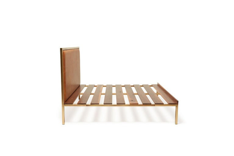 Modern Walnut and Brass Bed Frame with Leather Headboard For Sale