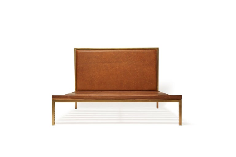 American Walnut and Brass Bed Frame with Leather Headboard For Sale