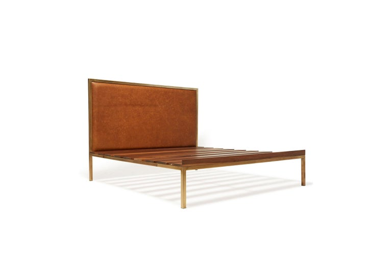 Plated Walnut and Brass Bed Frame with Leather Headboard For Sale