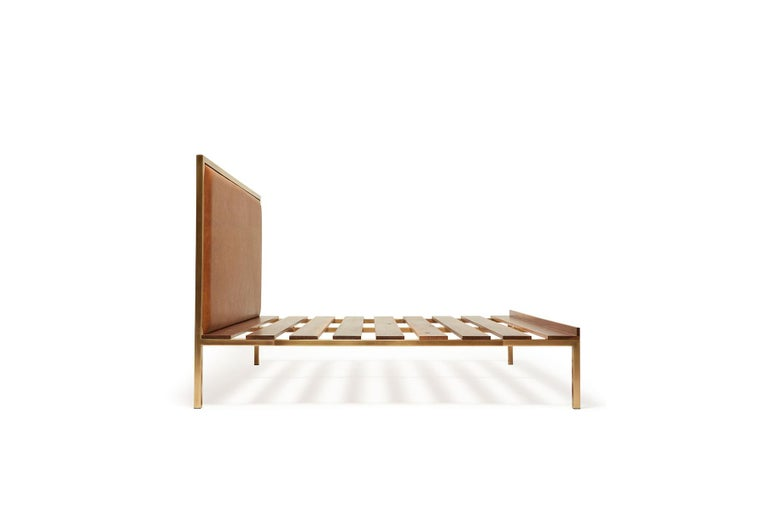 Walnut and Brass Bed Frame with Leather Headboard In New Condition For Sale In Los Angeles, CA