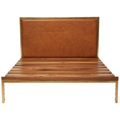Walnut and Brass Bed Frame with Leather Headboard