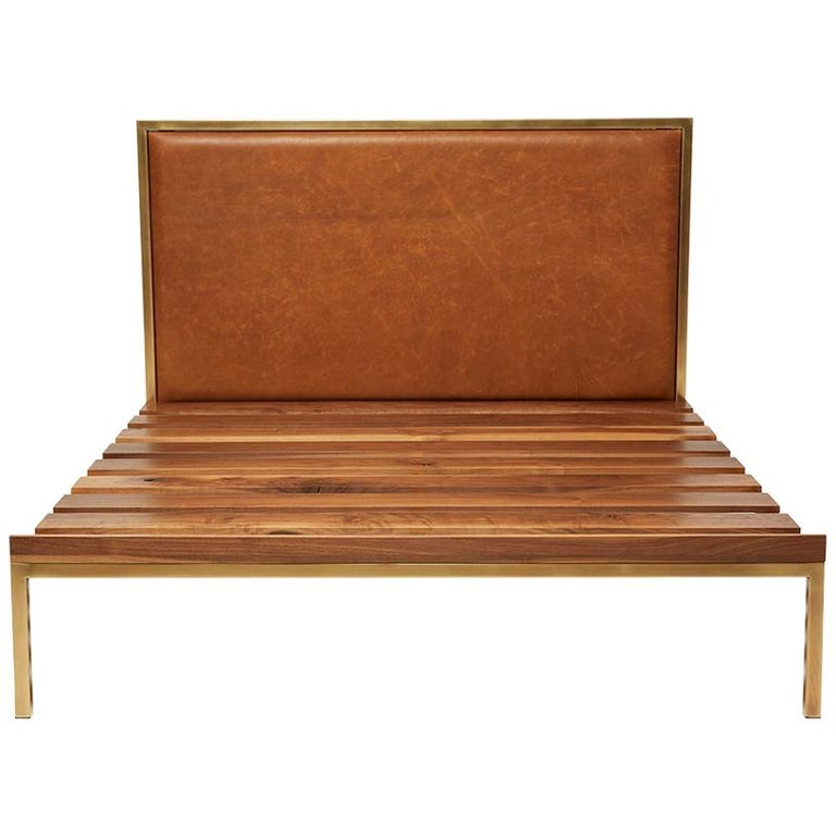 Walnut and Brass Bed Frame with Leather Headboard For Sale