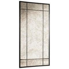 Customizable Black Iron Frame Distressed Effect Glass Window Look Mirror