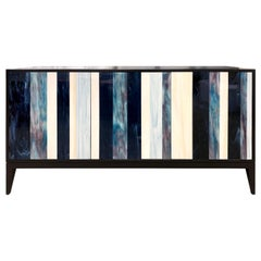 Customizable Black Milano Linea Buffet in Blue/Ivory Glass Mosaic Ercole Home