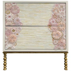 Customizable Blossom Glass Mosaic Nightstand, Vintage Metal Base by Ercole Home