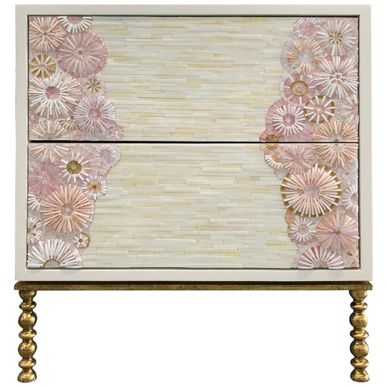 Customizable Blossom Glass Mosaic Nightstand, Vintage Metal Base by Ercole Home For Sale
