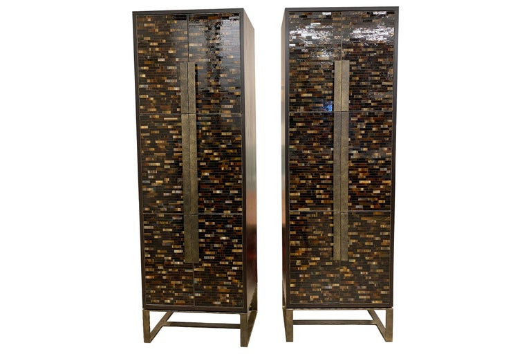 Modern Customizable Chelsea Brown Glass Mosaic Bar with Hammered Metal Base by Ercole For Sale