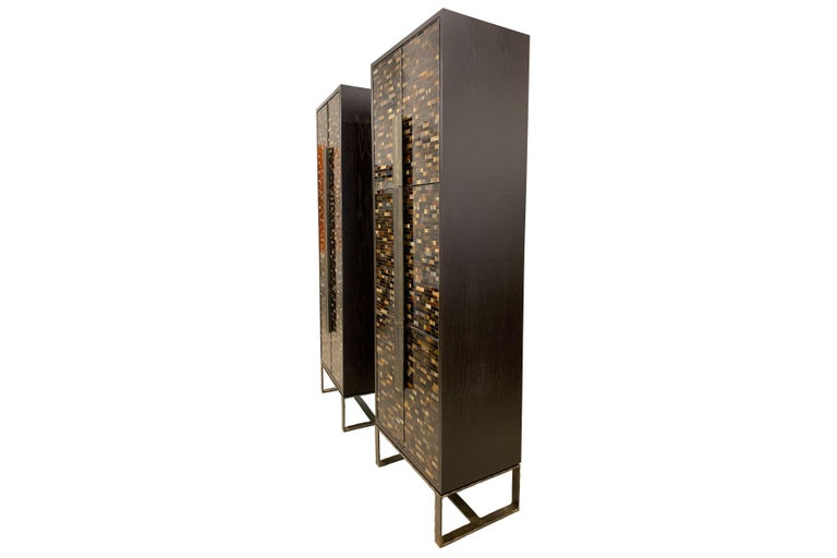 American Customizable Chelsea Brown Glass Mosaic Bar with Hammered Metal Base by Ercole For Sale