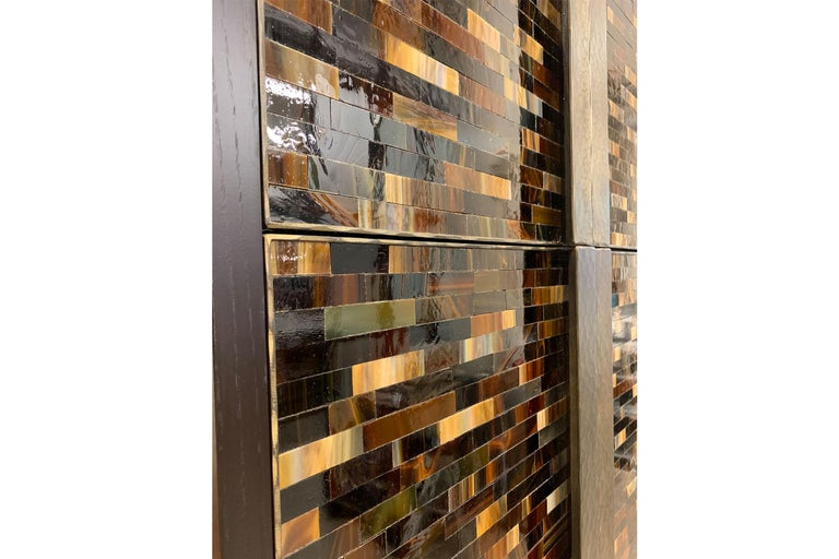 Customizable Chelsea Brown Glass Mosaic Bar with Hammered Metal Base by Ercole In New Condition For Sale In New York, NY