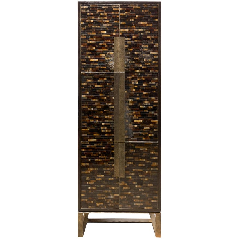 Customizable Chelsea Brown Glass Mosaic Bar with Hammered Metal Base by Ercole For Sale