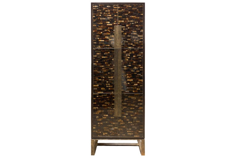 Customizable Chelsea Brown Leather Bar with Hammered Metal Base by Ercole In New Condition For Sale In New York, NY