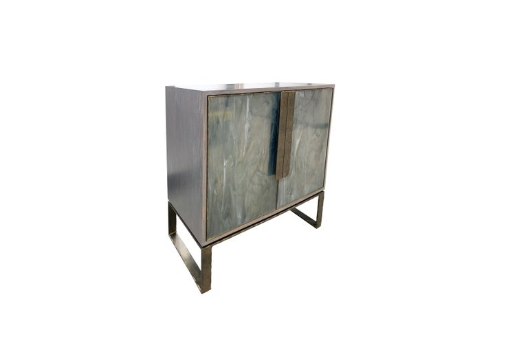 Modern Customizable Chelsea Gray Glass Credenza with Metal Base by Ercole Home For Sale