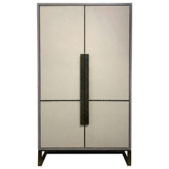 Customizable Chelsea Gray Leather Pocket Door Bar with Hammered Base by Ercole