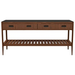 Customizable Console Table in Walnut and Blackened Brass by Munson Furniture