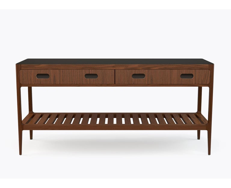 American Customizable Console Table in Walnut and Patinated Brass by Munson Furniture For Sale