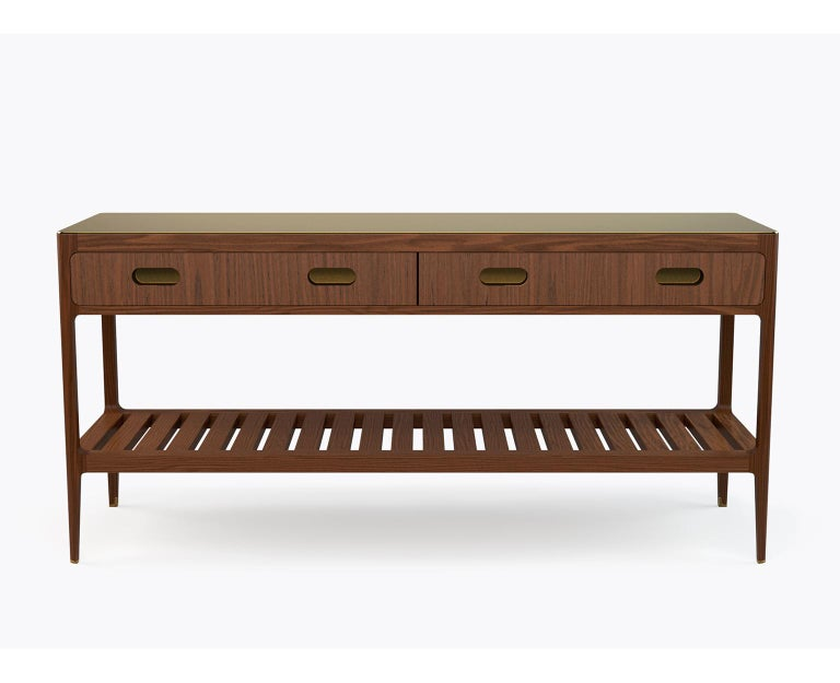 Customizable Console Table in Walnut and Patinated Brass by Munson Furniture In New Condition For Sale In Oakland, CA