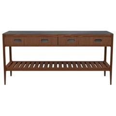 Customizable Console Table in Walnut and Patinated Brass by Munson Furniture