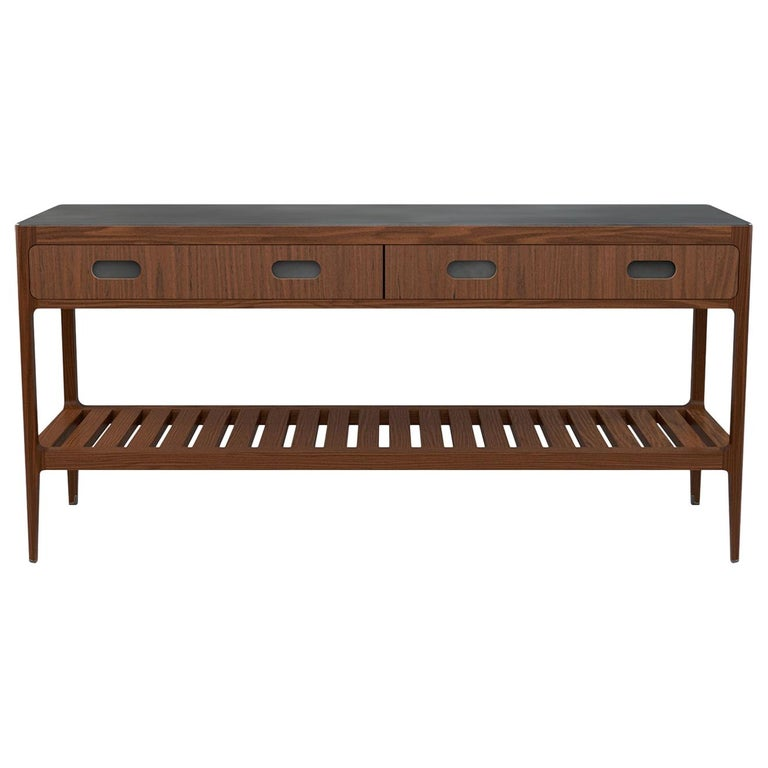 Customizable Console Table in Walnut and Patinated Brass by Munson Furniture For Sale