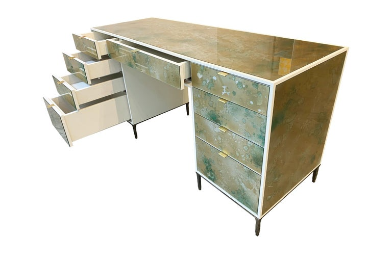 Modern Customizable Contemporary Eglomise Glass Byzantine Gold Vanity by Ercole Home 2 For Sale