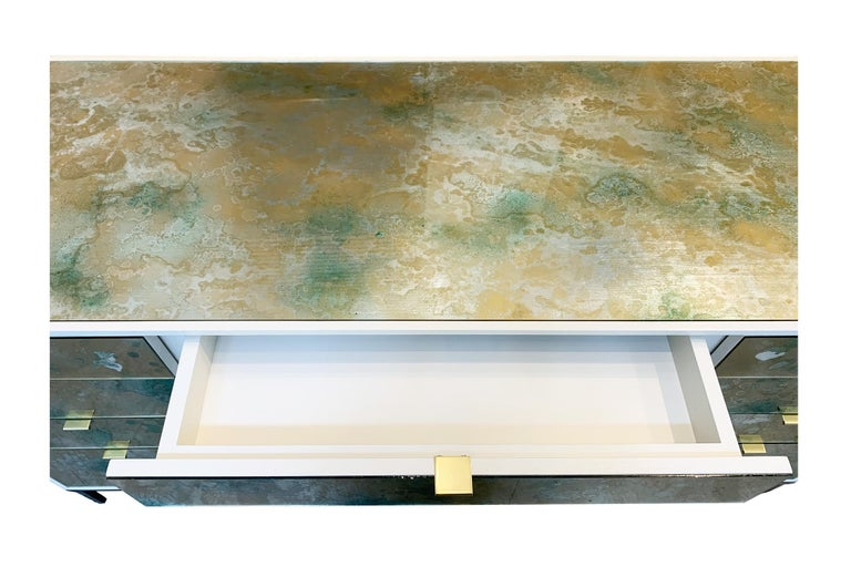 American Customizable Contemporary Eglomise Glass Byzantine Gold Vanity by Ercole Home 2 For Sale