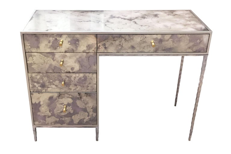 Metal Customizable Contemporary Eglomise Glass Byzantine Gold Vanity by Ercole Home 2 For Sale