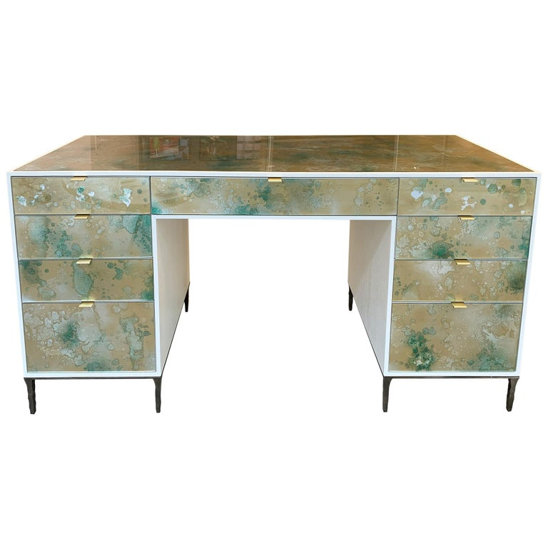 Customizable Contemporary Eglomise Glass Byzantine Gold Vanity by Ercole Home 2 For Sale