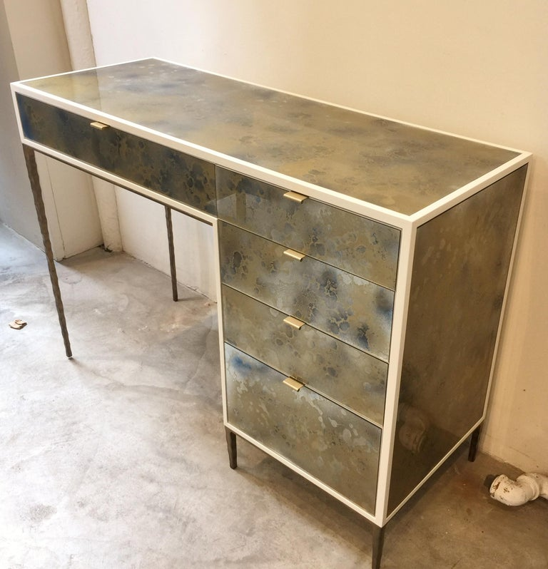 American Customizable Contemporary Eglomise Glass Byzantine Gold Vanity by Ercole Home For Sale