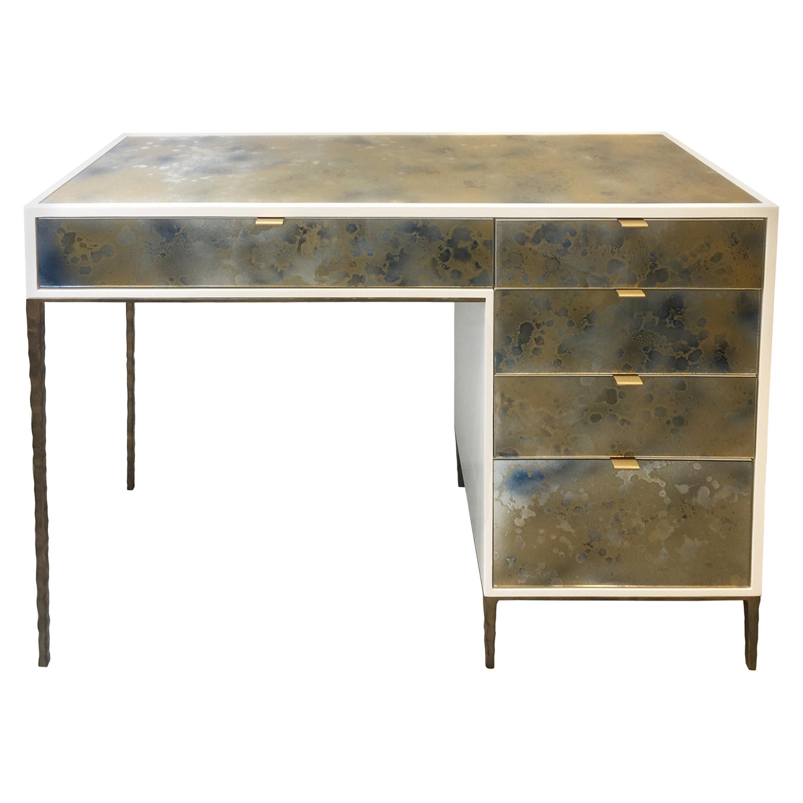 Customizable Contemporary Eglomise Glass Byzantine Gold Vanity by Ercole Home