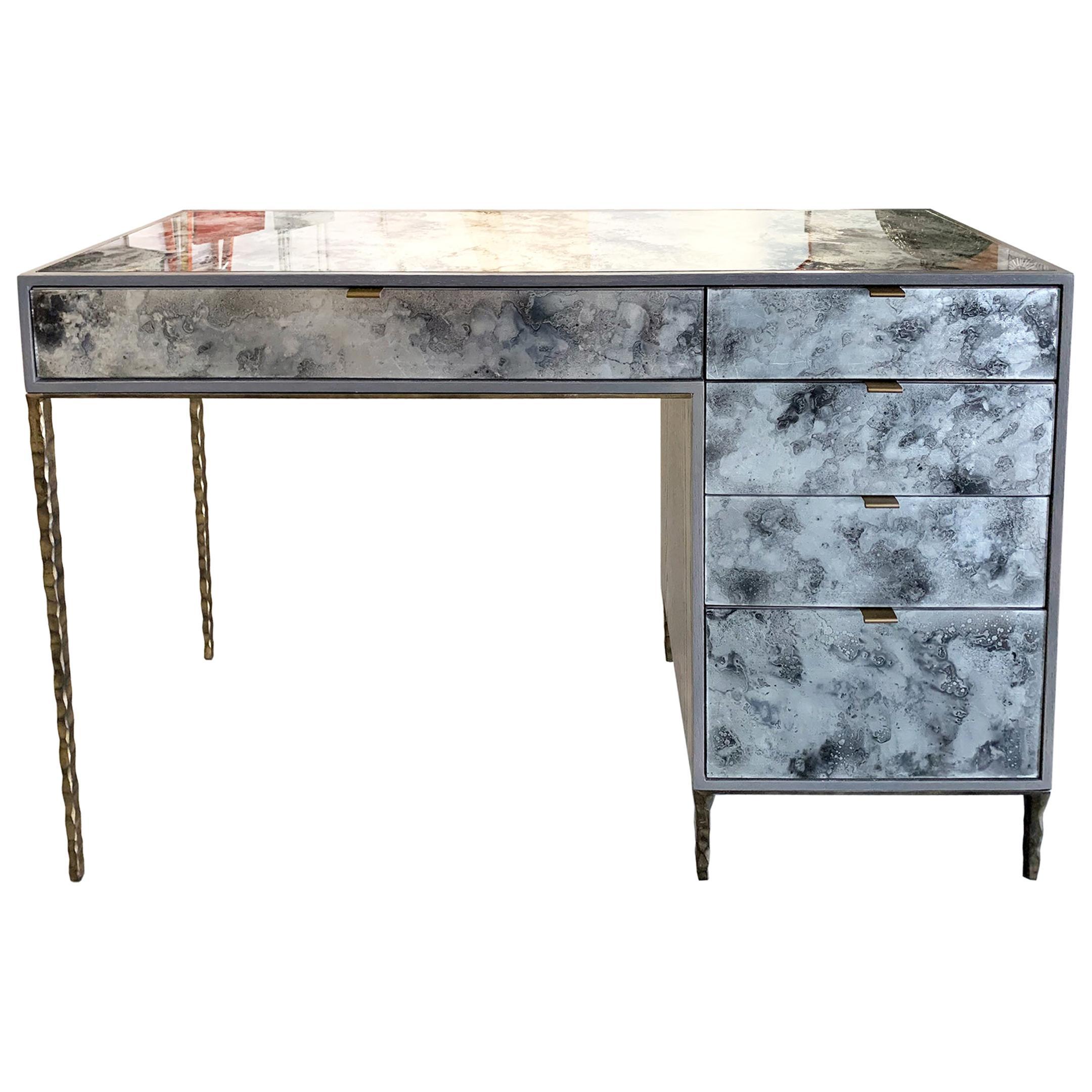Customizable Contemporary Églomisé Glass Fume Silver Vanity/Desk by Ercole Home