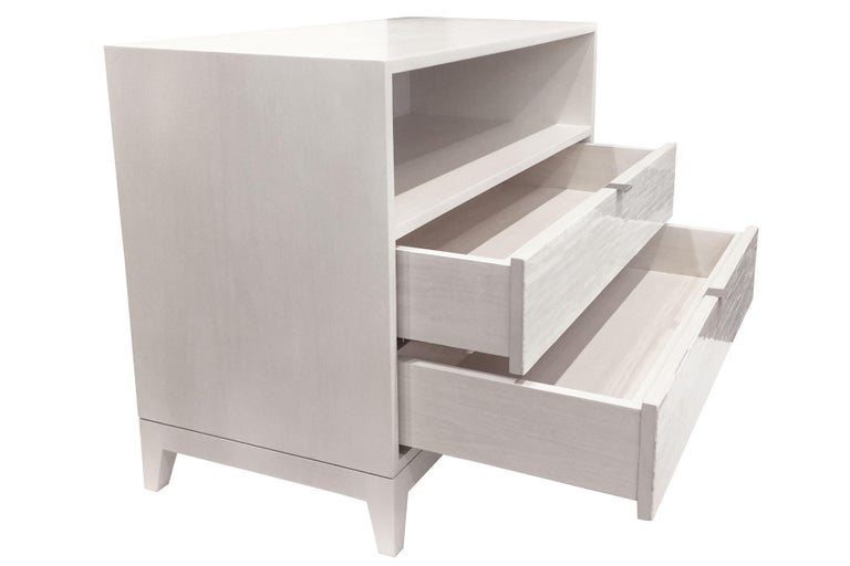 American Customizable Contemporary Milano Ivory Glass Mosaic Nightstand by Ercole Home For Sale