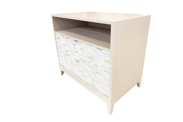 Modern Customizable Contemporary Milano White Glass Mosaic Nightstand by Ercole Home For Sale