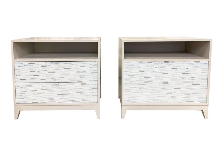 Hand-Crafted Customizable Contemporary Milano White Glass Mosaic Nightstand by Ercole Home For Sale