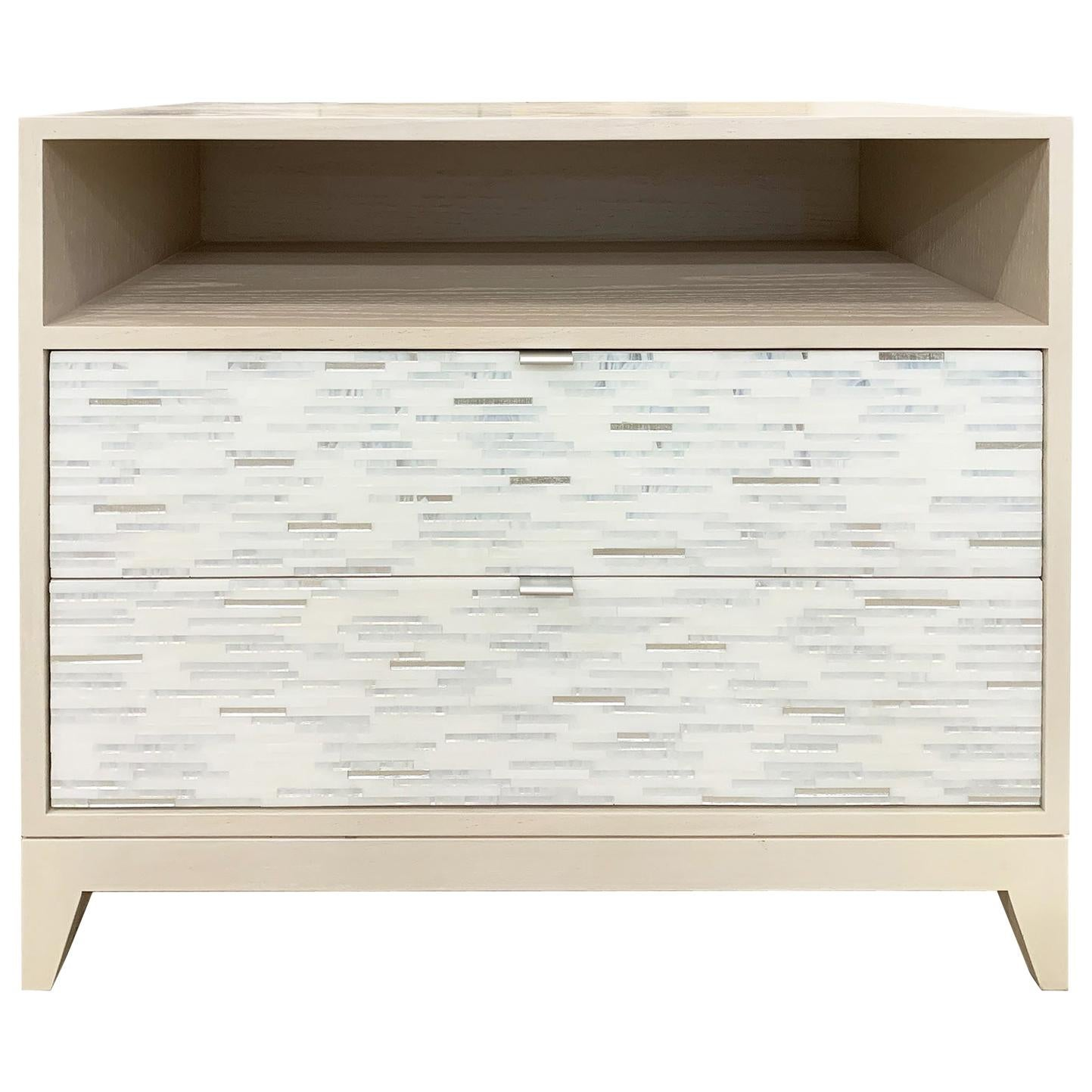 Customizable Contemporary Milano White Glass Mosaic Nightstand by Ercole Home