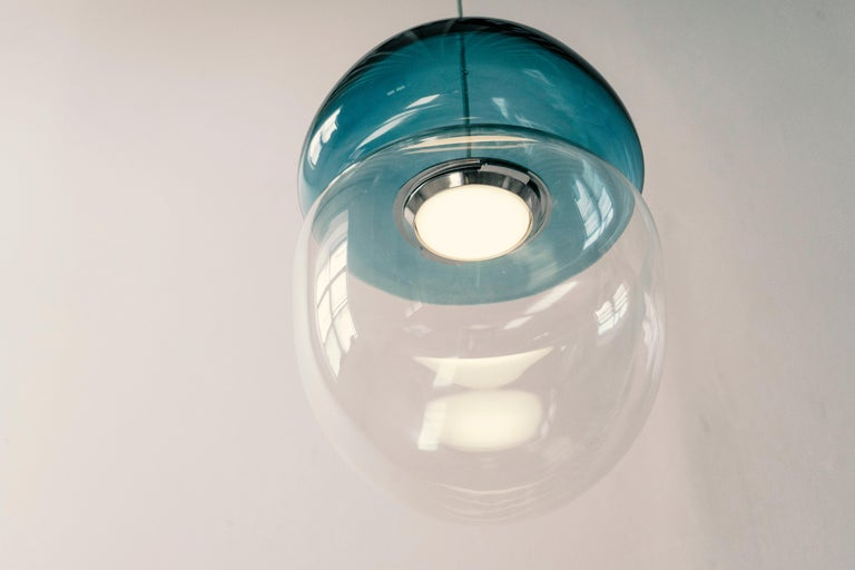 Modern Customizable Dew and Drop Hand Blown Glass Pendant Lamp in Light Blue For Sale
