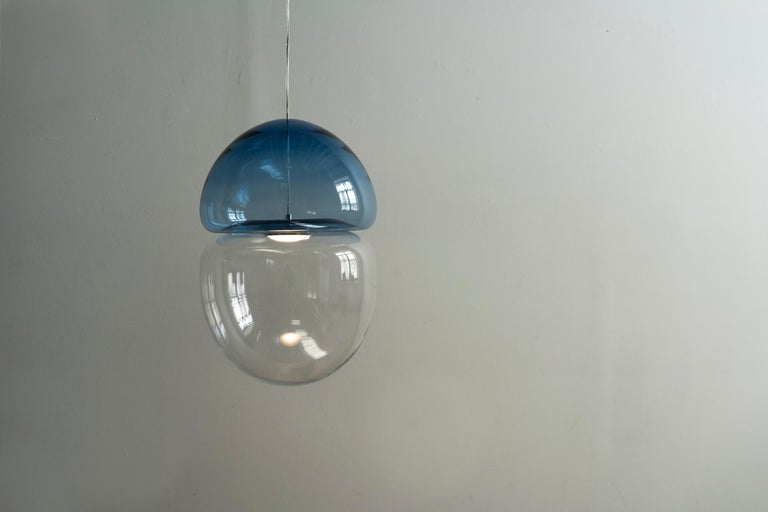 Italian Customizable Dew and Drop Hand Blown Glass Pendant Lamp in Light Blue For Sale