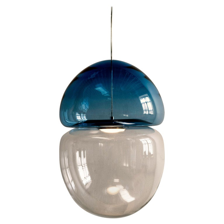 Customizable Dew and Drop Hand Blown Glass Pendant Lamp in Light Blue For Sale