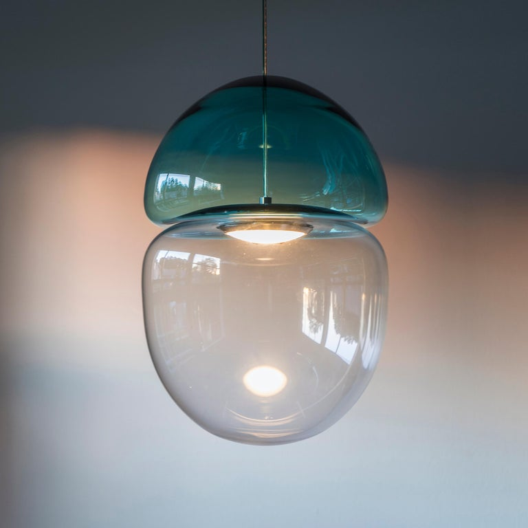 Modern Customizable Dew and Drop Hand Blown Glass Pendant Lamp in Mountain Blue For Sale
