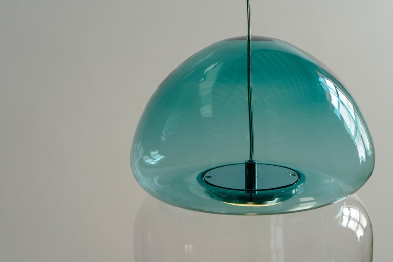 Art Glass Customizable Dew and Drop Hand Blown Glass Pendant Lamp in Mountain Blue For Sale