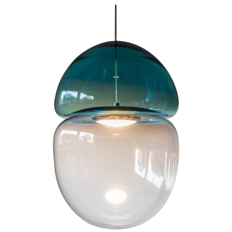 Customizable Dew and Drop Hand Blown Glass Pendant Lamp in Mountain Blue For Sale