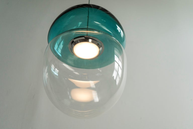 Customizable Dew and Drop Hand Blown Glass Pendant Lamp in Mountain Blue In New Condition For Sale In Brooklyn, NY