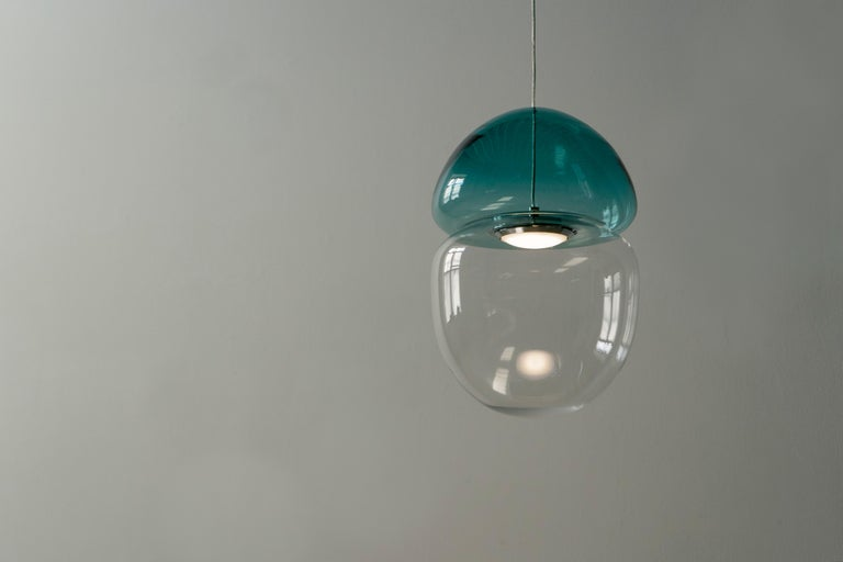 Contemporary Customizable Dew and Drop Hand Blown Glass Pendant Lamp in Mountain Blue For Sale