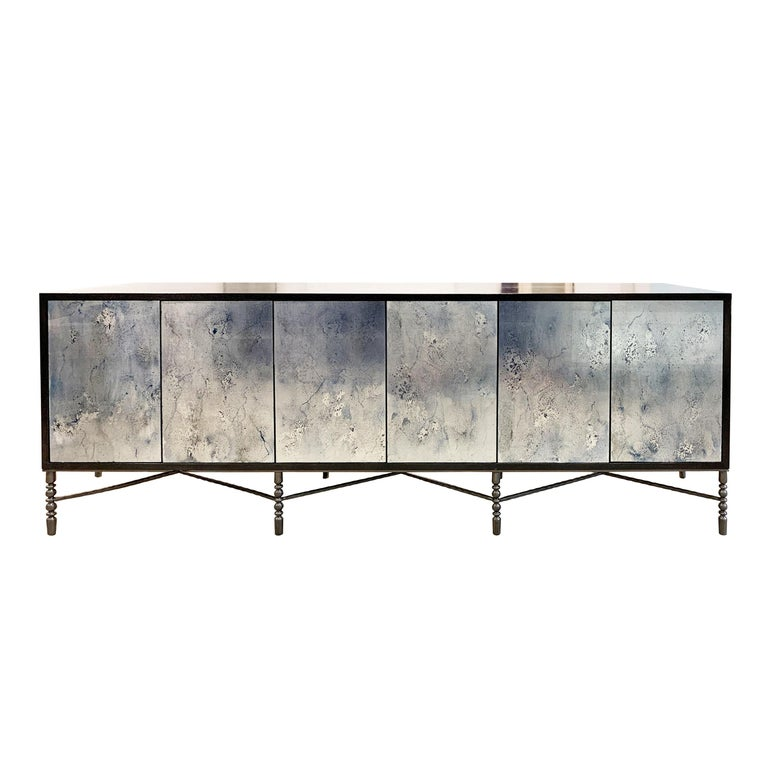 Hand-Painted Customizable Églomisé Blue Silver Glass Sliding Door Buffet by Ercole Home For Sale