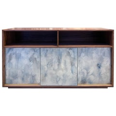 Customizable Églomisé Blue Silver Glass Sliding Door Buffet by Ercole Home
