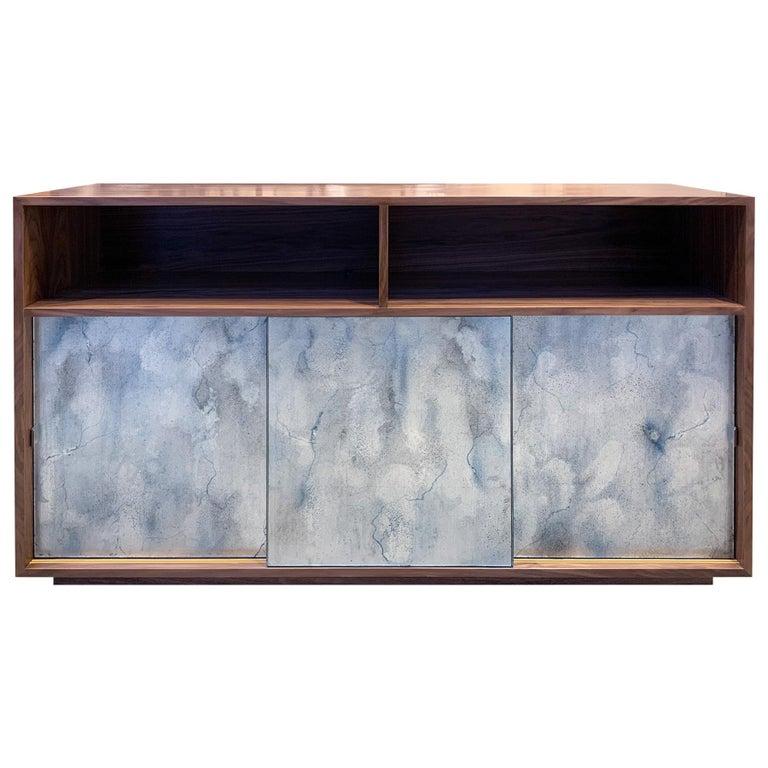 Customizable Églomisé Blue Silver Glass Sliding Door Buffet by Ercole Home For Sale