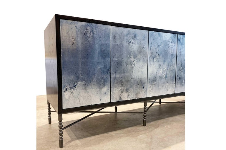 American Customizable Églomisé Blue Silver Glass Buffet with Metal Base by Ercole Home For Sale