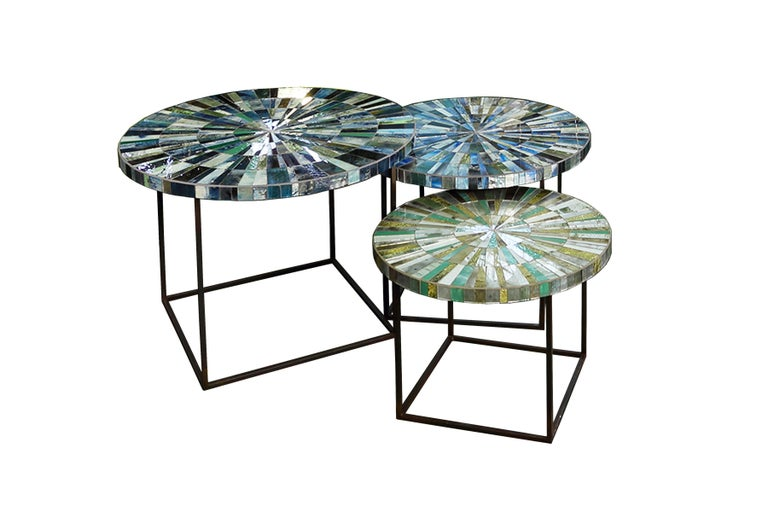 American Customizable Eglomise Glass Mosaic Round Aqua Coffee Table by Ercole Home For Sale