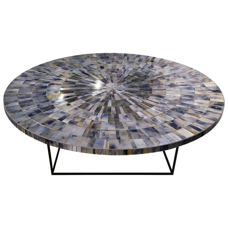 Hand-Crafted Customizable Eglomise Glass Mosaic Round Aqua Coffee Table by Ercole Home For Sale