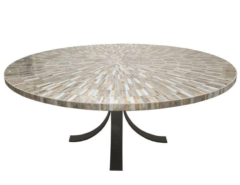 Customizable Eglomise Glass Mosaic Round Aqua Coffee Table by Ercole Home In New Condition For Sale In Brooklyn, NY