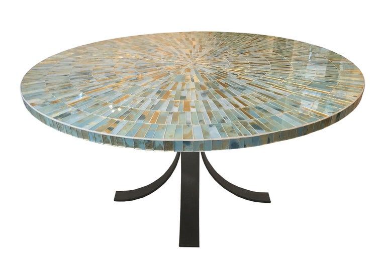 Contemporary Customizable Eglomise Glass Mosaic Round Aqua Coffee Table by Ercole Home For Sale