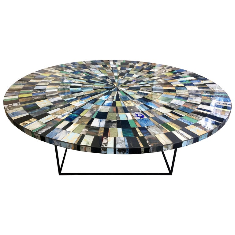Customizable Eglomise Glass Mosaic Round Aqua Coffee Table by Ercole Home For Sale